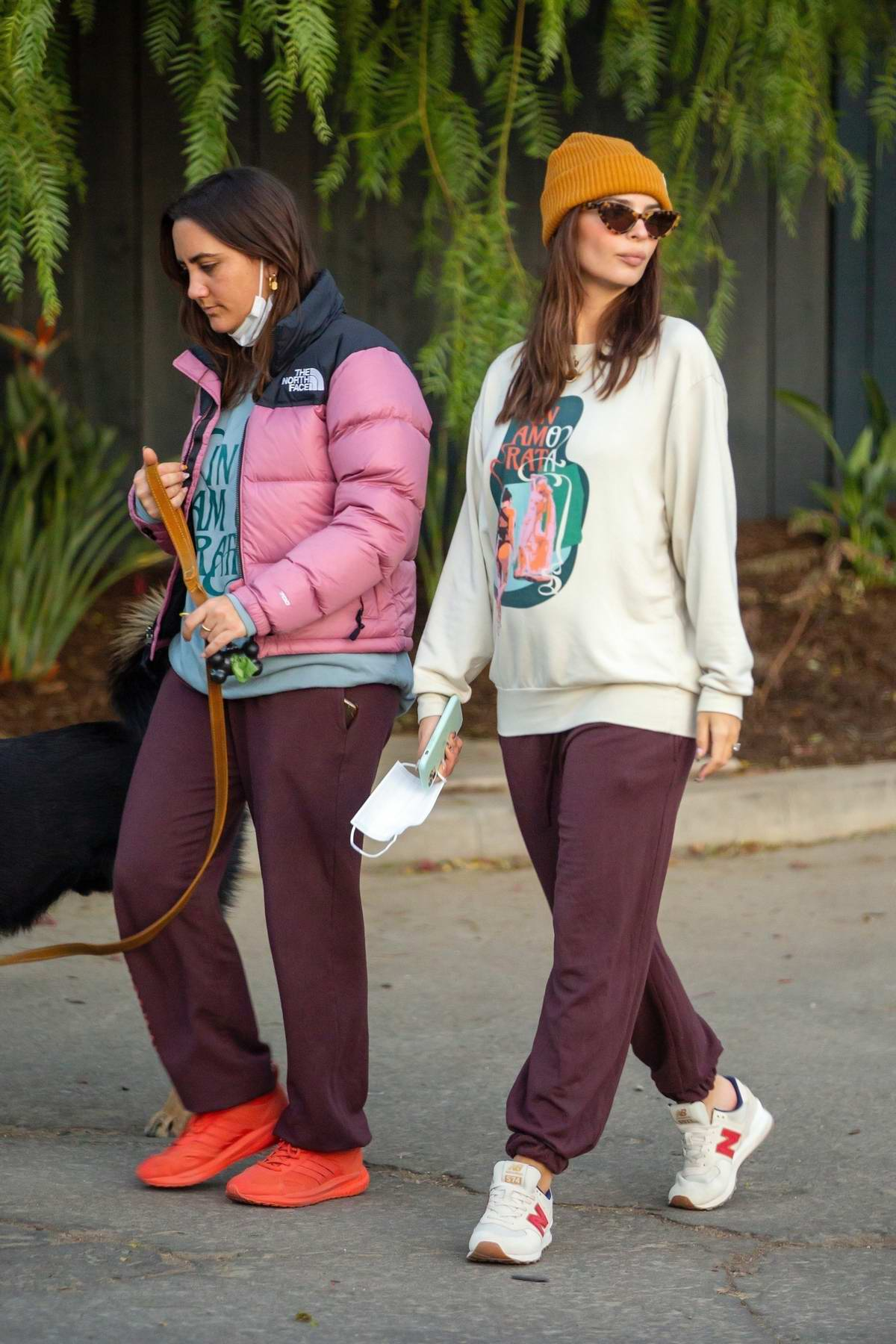 Emily Ratajkowski steps out for a short stroll with a friend and her dog in Los Angeles