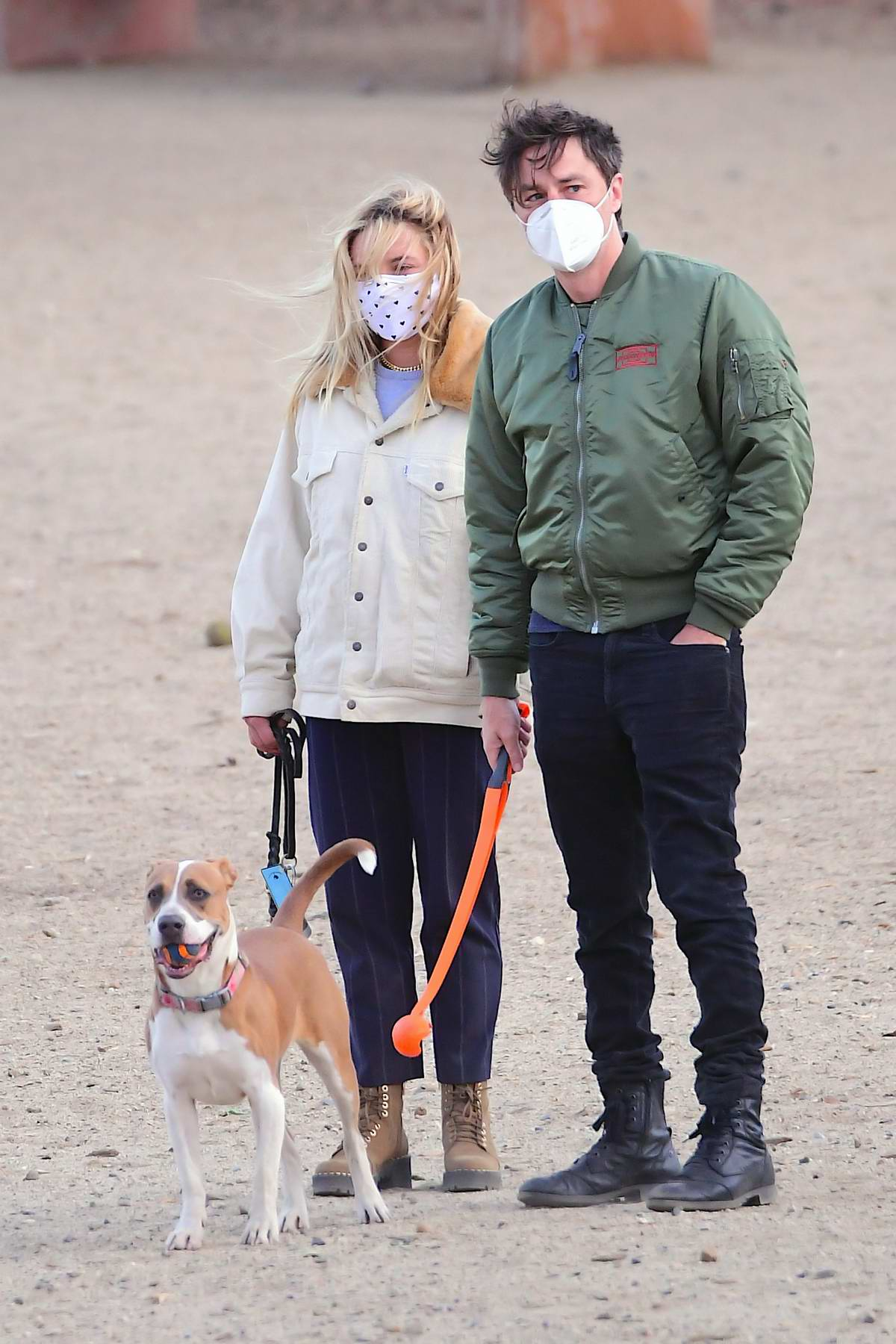 Florence Pugh and Zach Braff were spotted enjoying an early morning trip to the dog park in Los Angeles