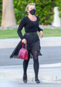 Florence Pugh dressed in all-black while spotted on the set of 'Don't Worry Darling' in Palm Springs, California