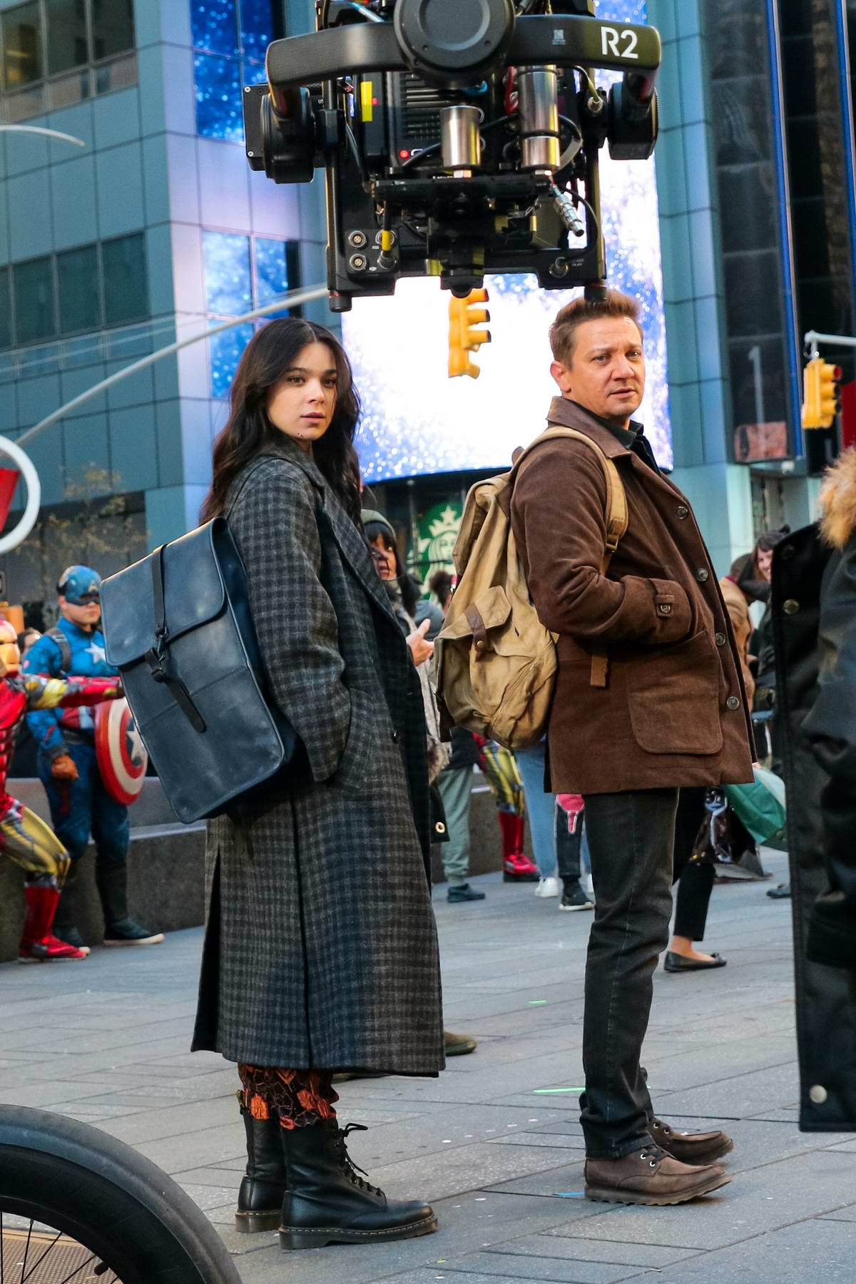Hailee Steinfeld and Jeremy Renner seen on set of the 'Hawkeye' TV series in New York City