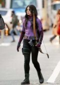 Hailee Steinfeld and Jeremy Renner seen on the set of 'Hawkeye' on the lower east side in New York City