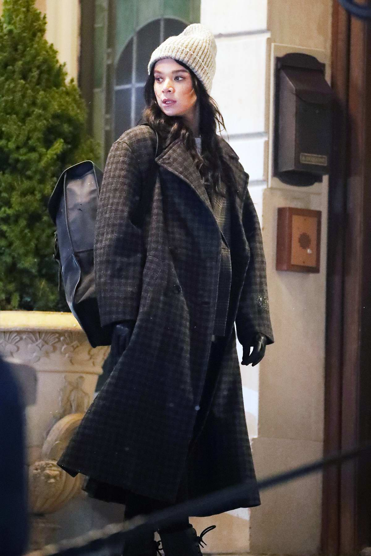Hailee Steinfeld seen filming a night scene on the set of 'Hawkeye' in New York City