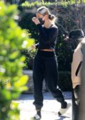 Hailey Bieber flashes her abs in a crop top as she arrives at a private Pilates class in Los Angeles