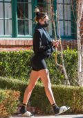 Hailey Bieber shows off her toned legs in tiny black shorts as she leaves her Pilates class in Los Angeles