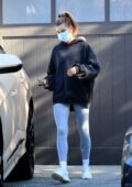 Hailey Bieber sports a black hoodie and grey leggings as she attends her yoga class before running a few errands in Los Angeles