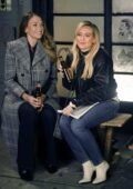 Hilary Duff and Sutton Foster seen on the set of 'Younger' in New York