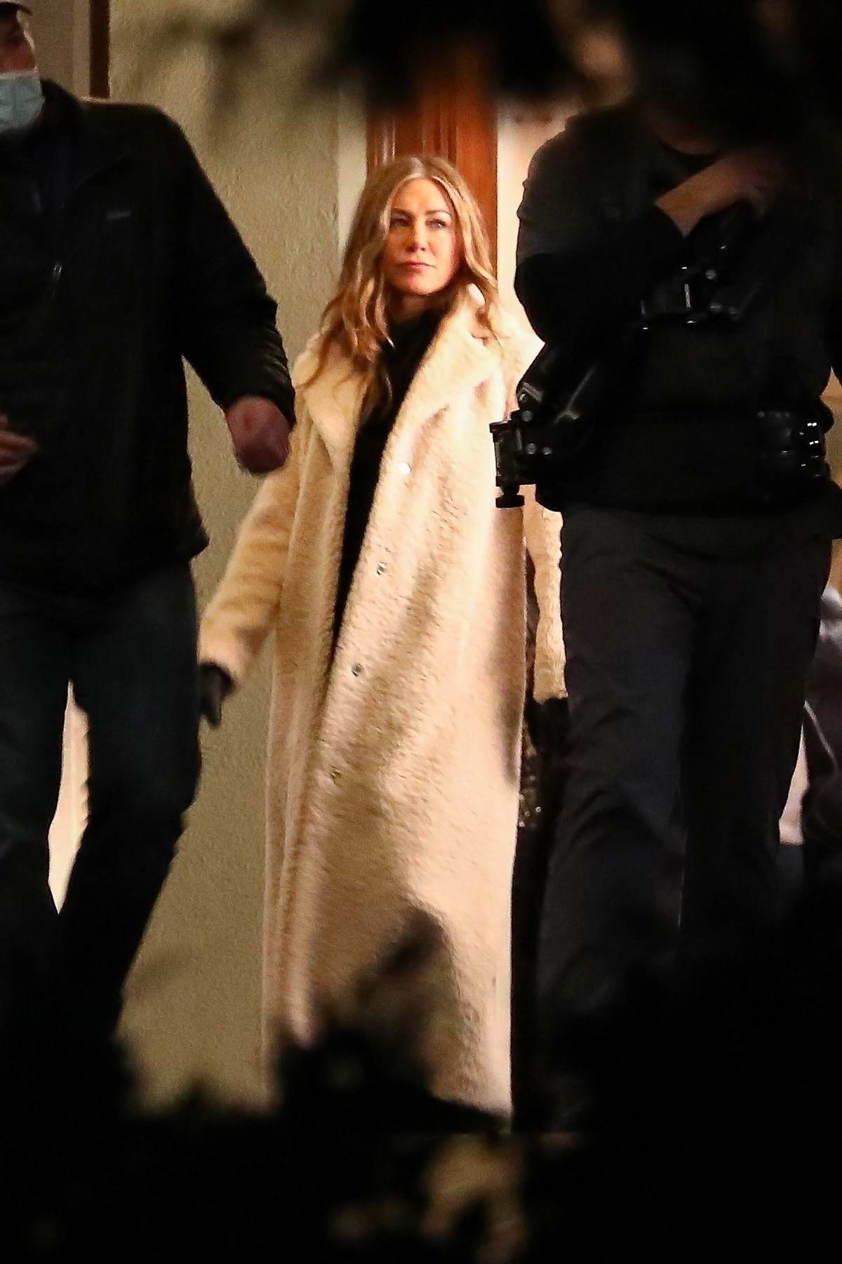 Jennifer Aniston seen filming a scene on the set of 'The Morning Show' in Los Angeles