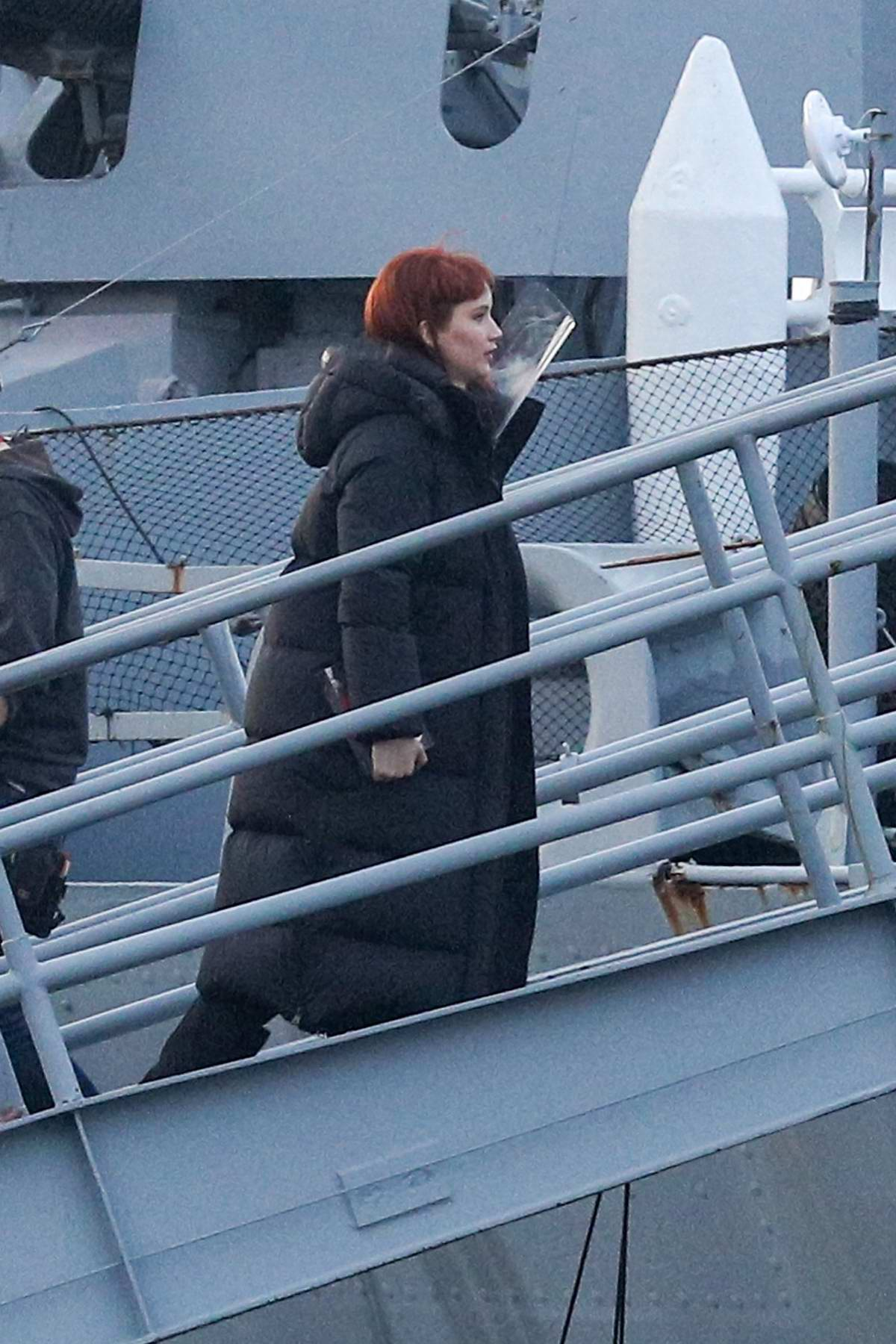 Jennifer Lawrence heading to set on the USS Massachusetts for the filming of 'Don't Look Up' in Fall River, Massachusetts