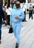 Jennifer Lopez looks cool in blue sweats while out shopping with her kids at the Miami Design District in Miami, Florida