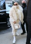 Jennifer Lopez looks stylish in off-white as she heads to the studio for a New Year's Eve performance rehearsal in New York