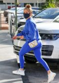 Jennifer Lopez sports a blue sweatshirt and leggings while out for last-minute Christmas shopping in Miami, Florida