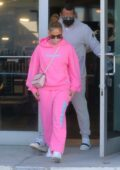 Jennifer Lopez sports pink sweats as she leaves the gym with Alex Rodriguez in Miami, Florida