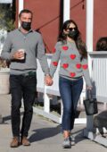 Jordana Brewster and boyfriend Mason Morfit hold hands during a coffee run at Blue Bottle in Brentwood, California