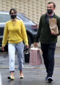 Jordana Brewster dons a yellow sweater as she steps out with boyfriend Mason Morfit for shopping in Brentwood, California