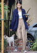 Kaia Gerber and Jacob Elordi seen heading to grab coffee with their dog Milo in Santa Monica, California
