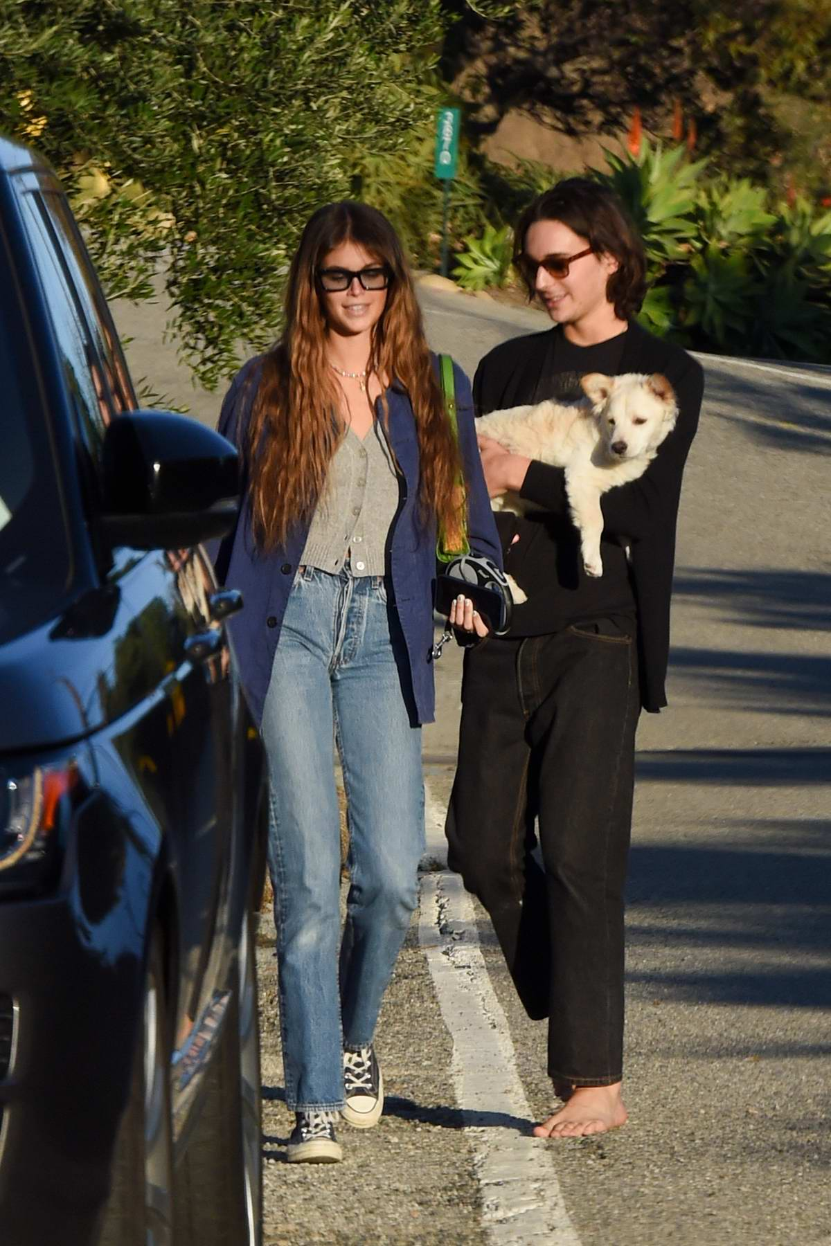 Kaia Gerber enjoys a leisurely stroll with a friend and her pup in Malibu, California