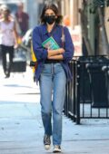 Kaia Gerber keeps it casual with a blue shirt and jeans while visiting 'The Last Bookstore' to pick up a book in Los Angeles