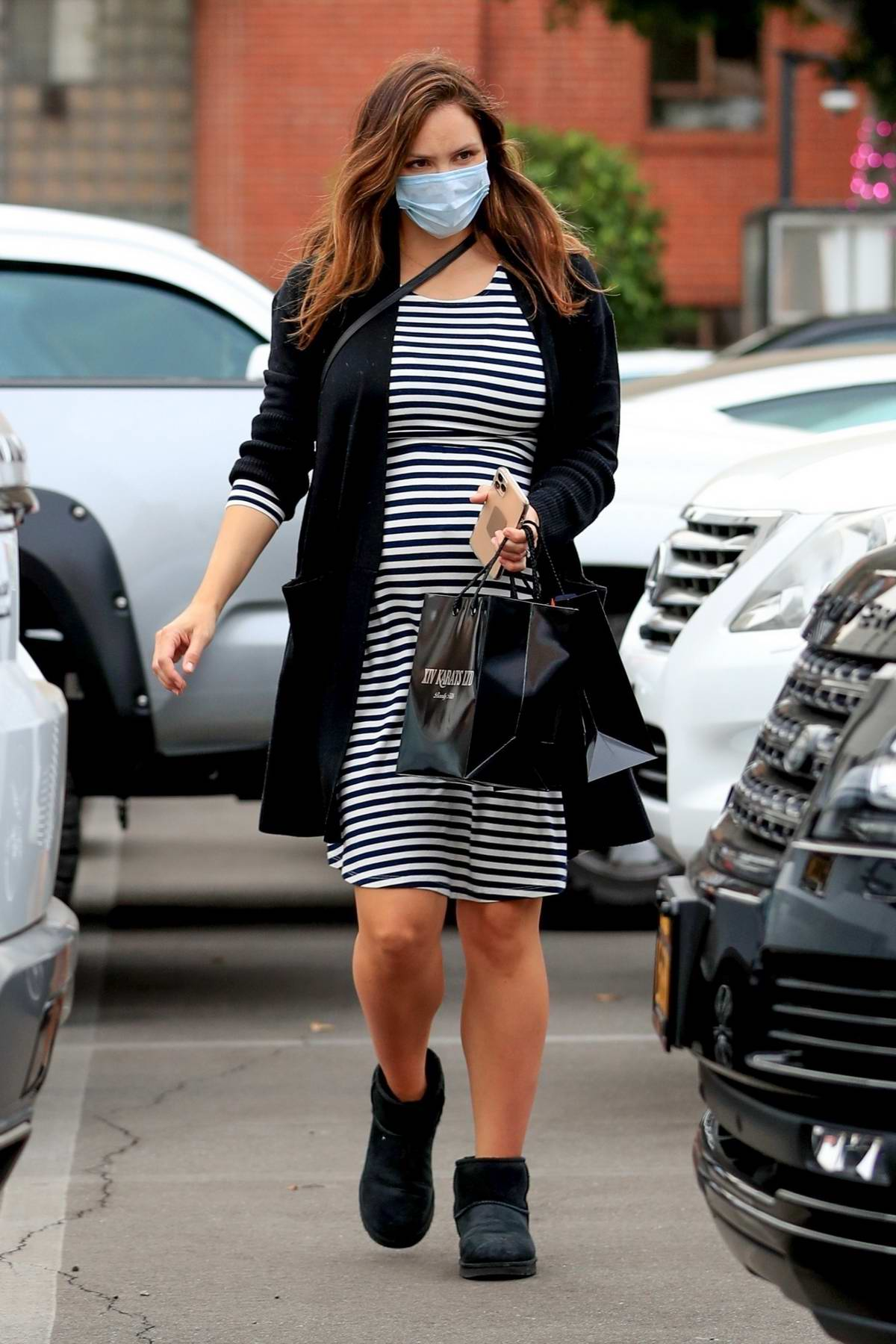 Katharine McPhee looks great in a striped dress while out for some jewelry shopping at XIV Karats in Beverly Hills, California