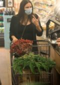 Katharine McPhee shows her baby bump while shopping groceries at Bristol Farms in Los Angeles
