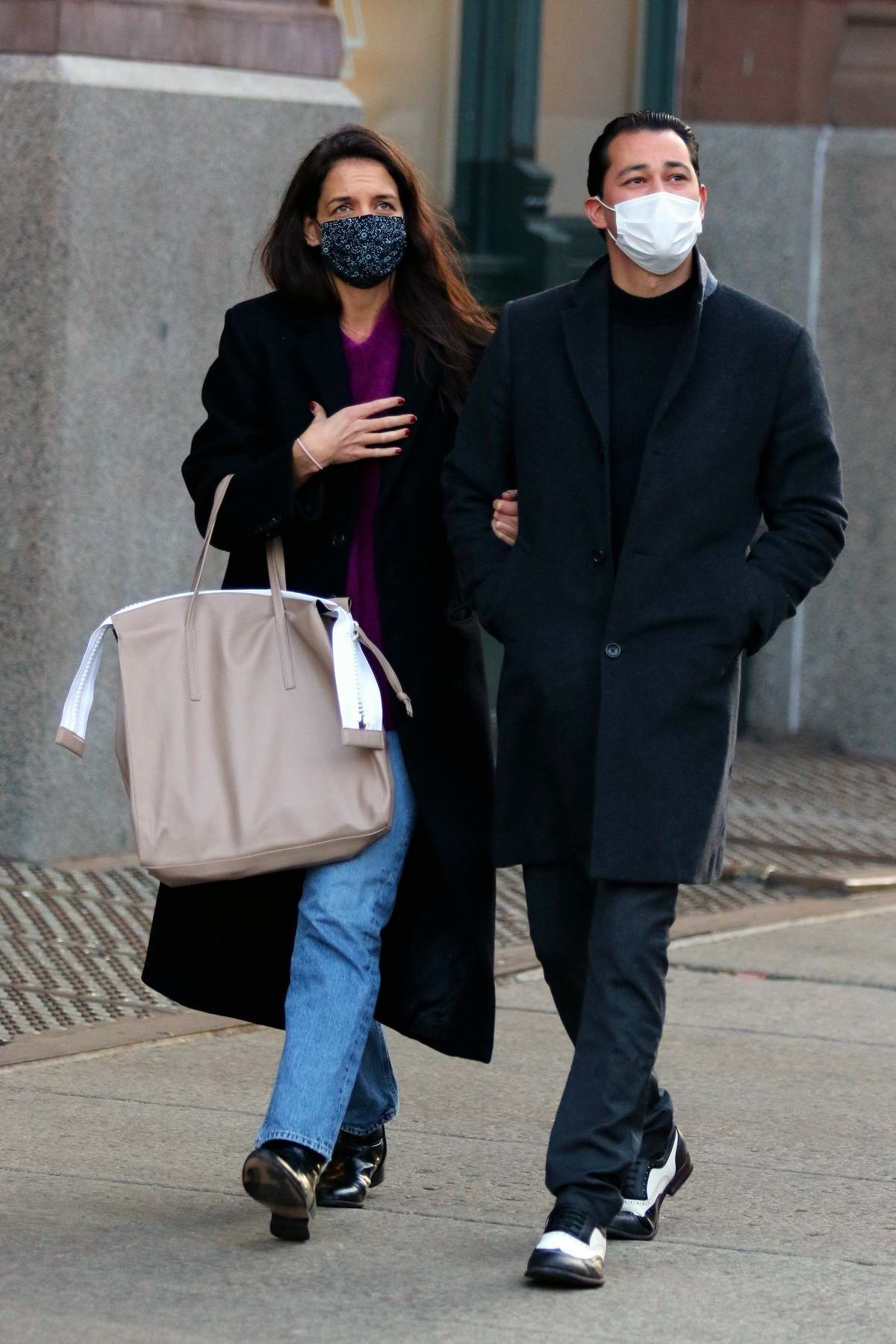 Katie Holmes and Emilio Vitolo Jr are all smiles as they go on a romantic stroll in Downtown Manhattan, New York
