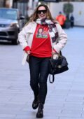Kelly Brook flashes her festive jumper as she arrives at The Global Radio Studios in London, UK