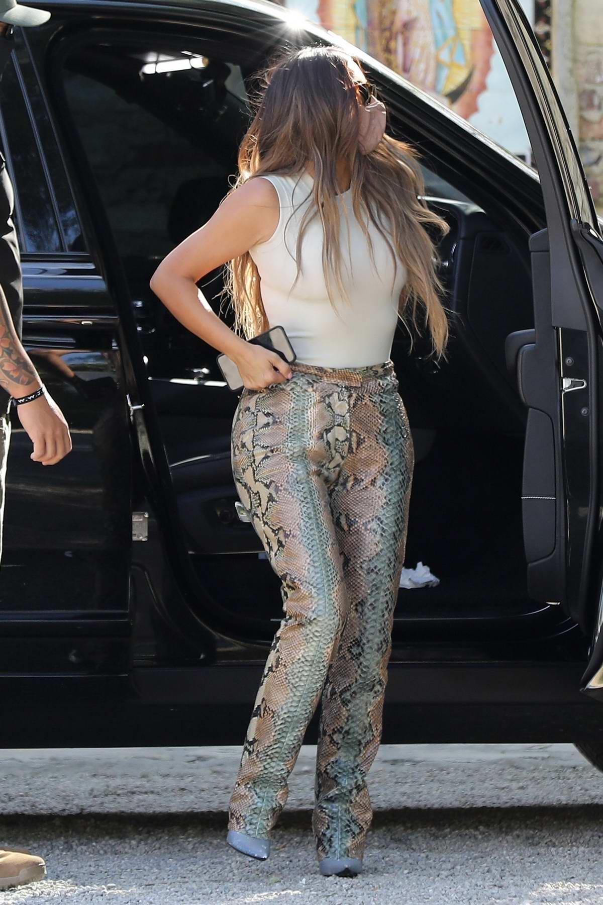 Kim Kardashian and Khloe Kardashian seen while visiting a friend in Malibu, California