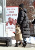 Kylie Jenner seen with her daughter at Belkin Family lookout farm in Boston, Massachusetts