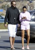 Lais Ribeiro flaunts her long legs in pink shorts paired with matching hoodie while out with Joakim Noah in Malibu, California