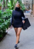 Larsa Pippen seen wearing PrettyLittleThing's black Facemask dress while out shopping at SAKS Fifth Avenue in Miami, Florida