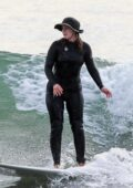 Leighton Meester hits the waves as she enjoys a solo surf session in Malibu, California