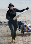 Leighton Meester is all smiles during solo surfing session in Malibu, California