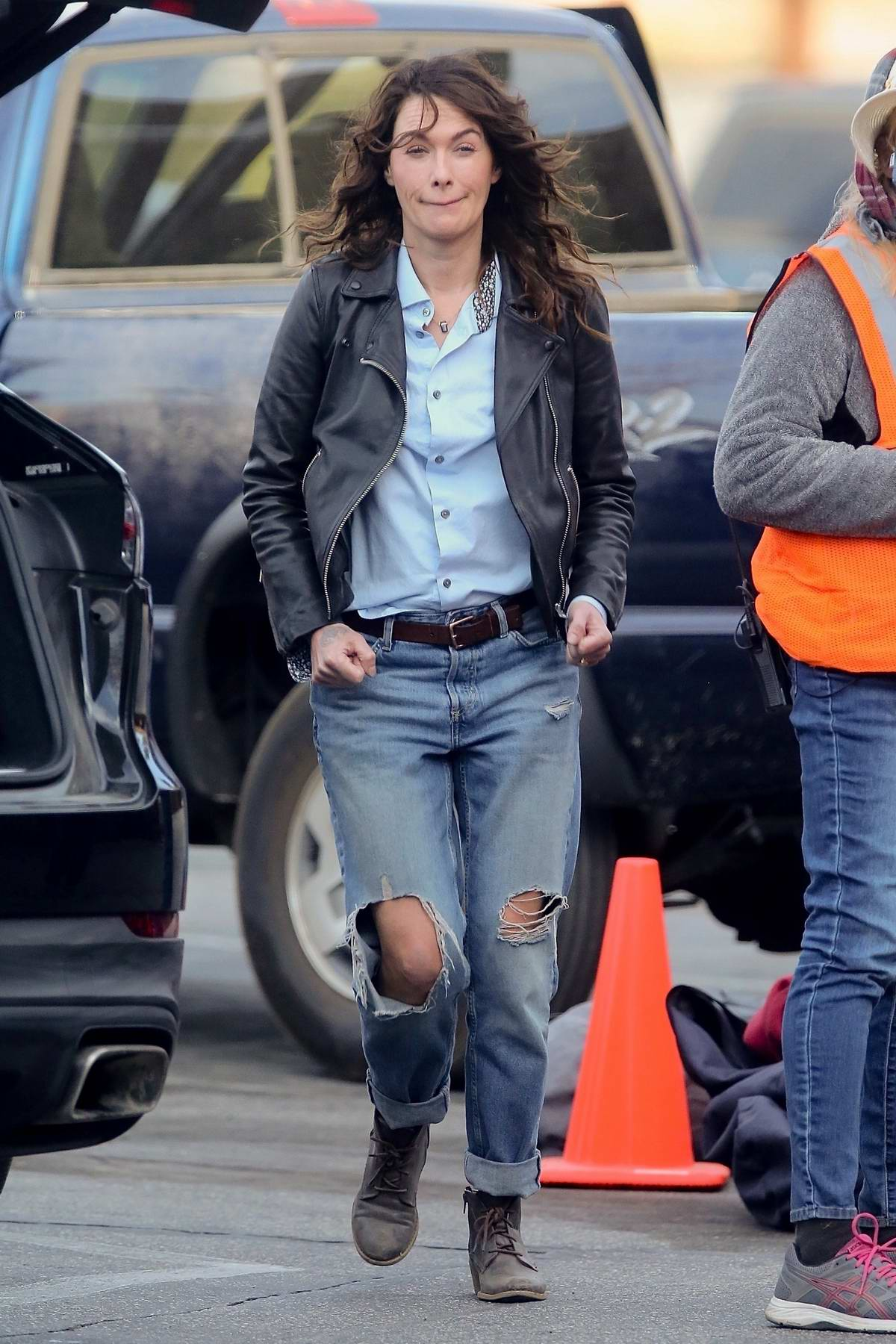 Lena Headey appears to have a tattoo on her right hand as she films scenes for 'Gypsy Moon' in Los Angeles