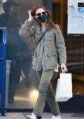 Lily Collins visits the post office to send off her Christmas present in Beverly Hills, California