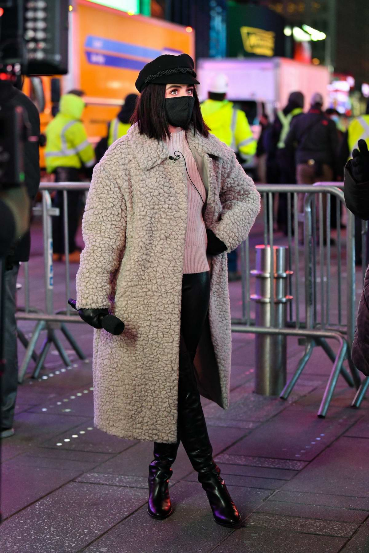 Lucy Hale seen at the 'Dick Clark's New Year's Rockin' Eve' 2021 at Times Square in New York City