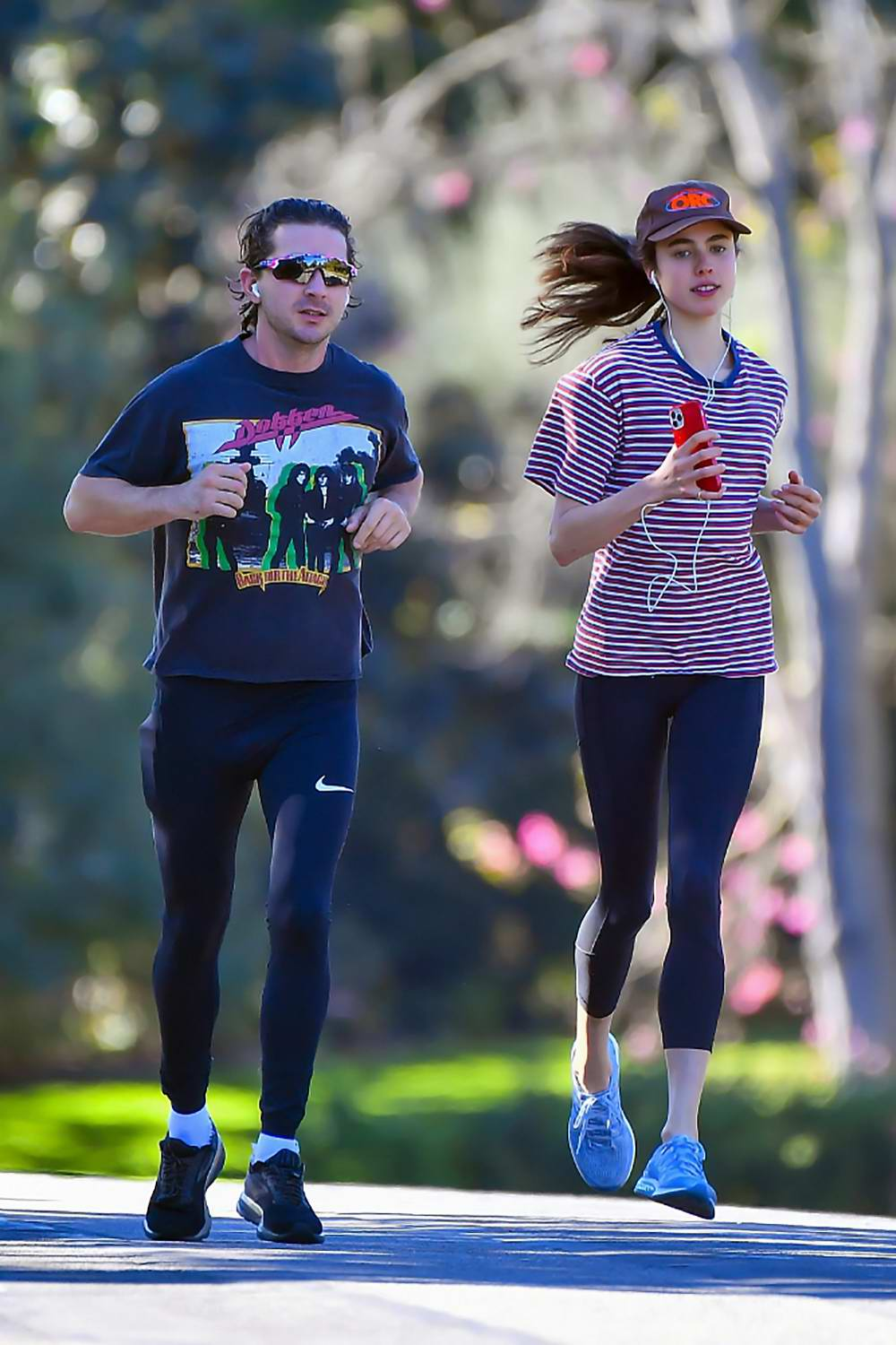 Margaret Qualley and Shia LaBeouf heads out for a run in Pasadena, California