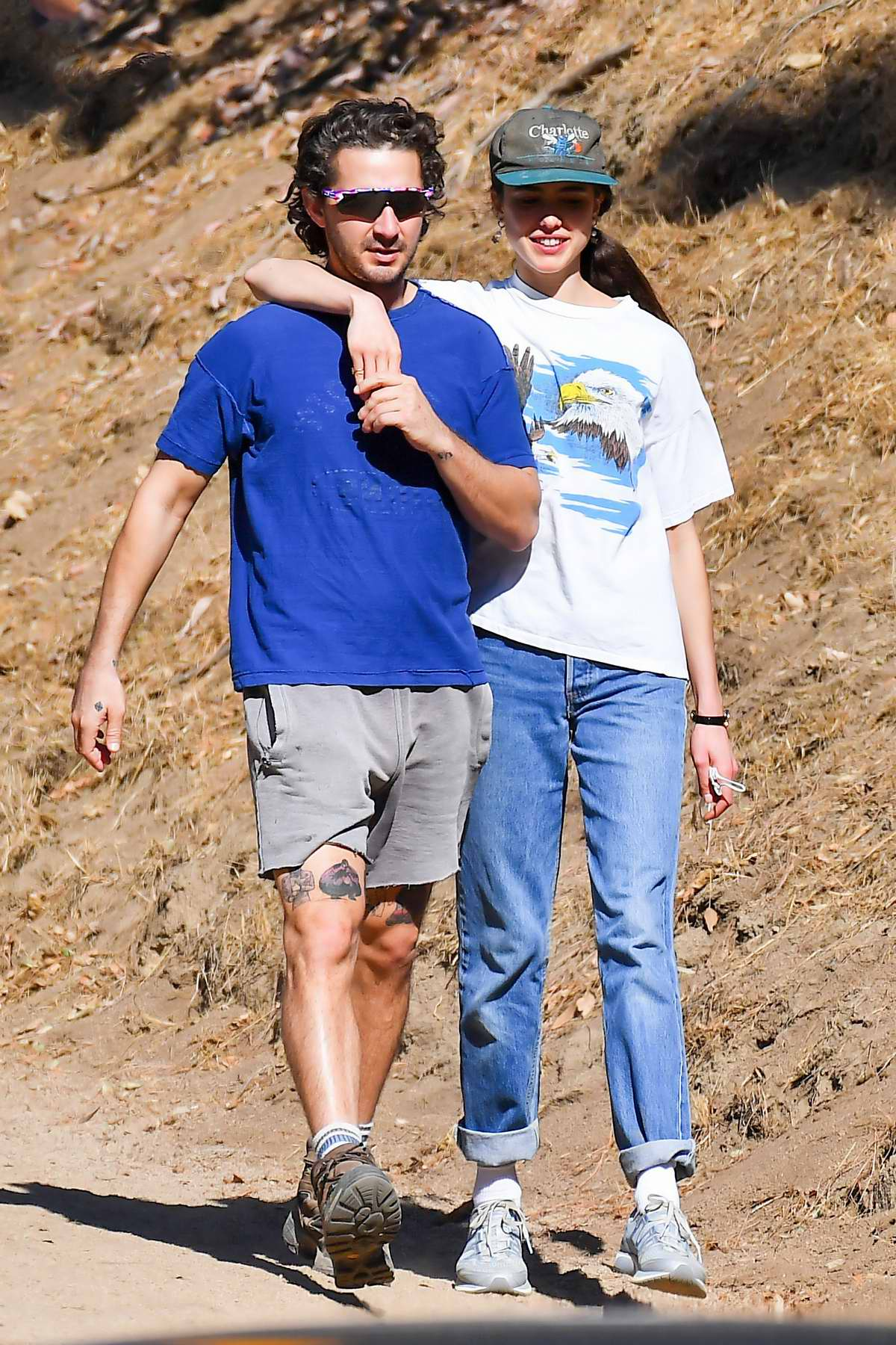 Margaret Qualley and Shia LaBeouf seen hitting the trails before picking up lunch at Stamp foods in Los Feliz, California