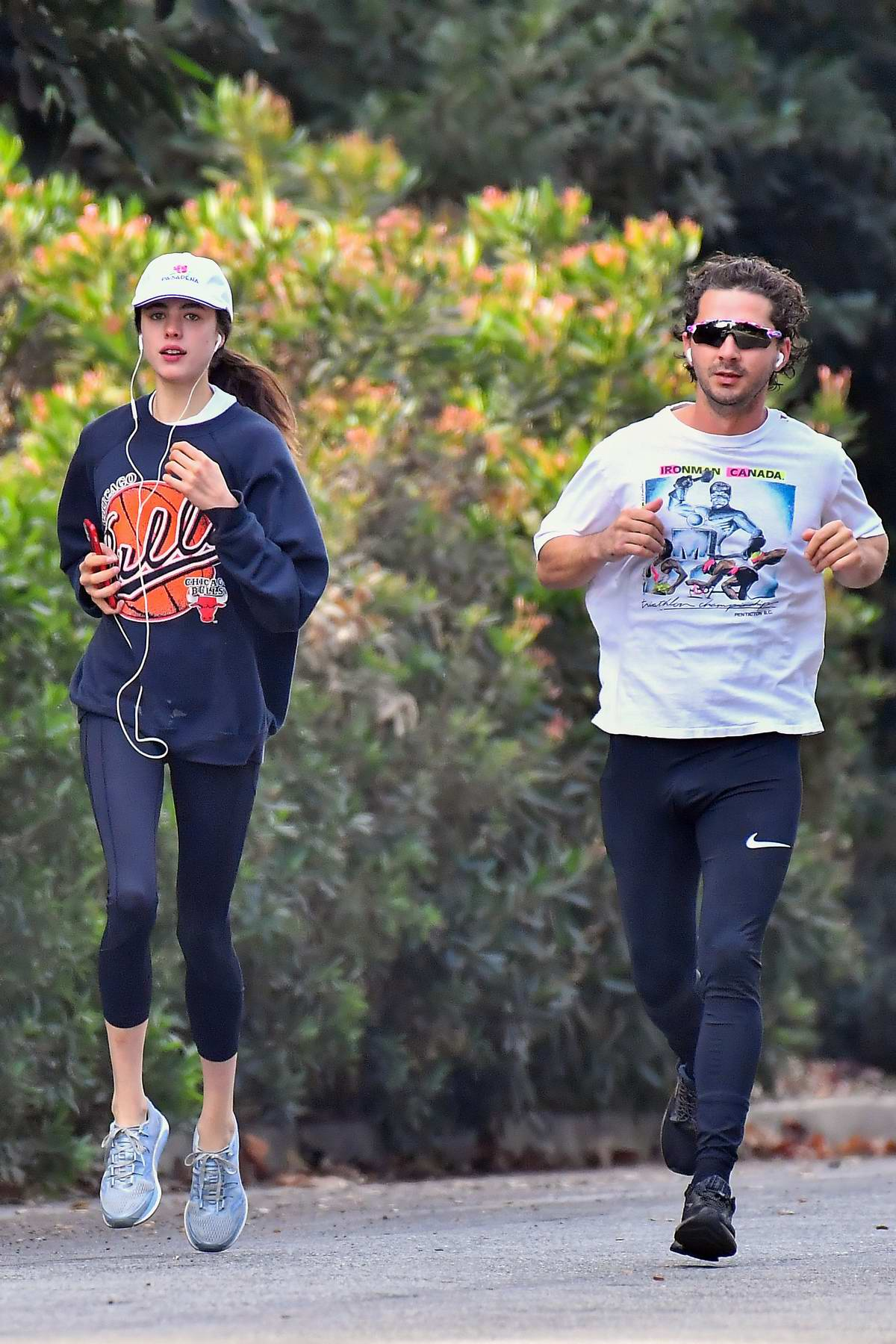 Margaret Qualley and Shia LaBeouf work up a sweat as they head out for a morning run in Pasadena, California