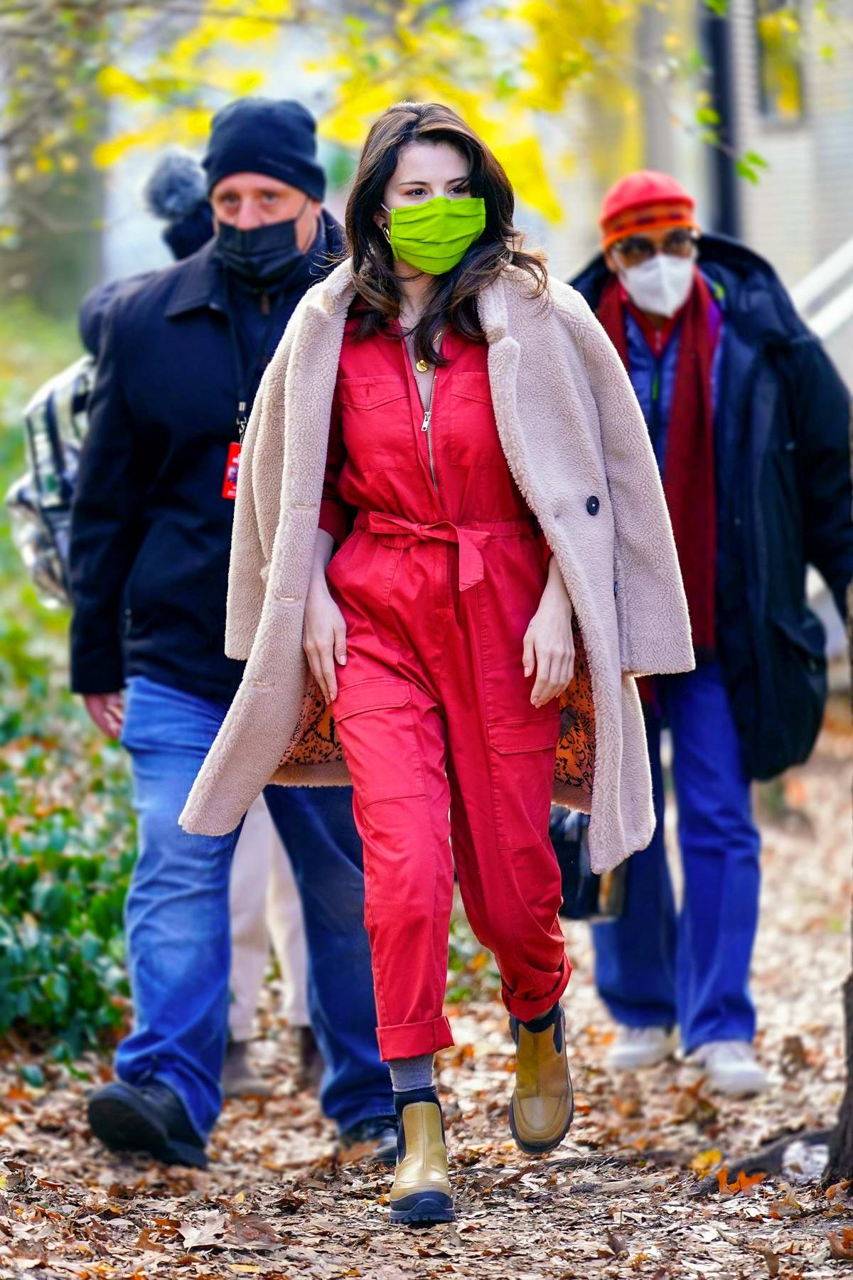 Selena Gomez looks cute in a red jumpsuit on the set of 'Only Murders In The Building' in New York City