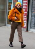 Selena Gomez sports yellow top with matching beanie and fur jacket while filming 'Only Murders In The Building' in New York City