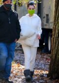 Selena Gomez stays cozy in white sweats and UGG boots as she arrives on the set of 'Only Murders In The Building' in New York City