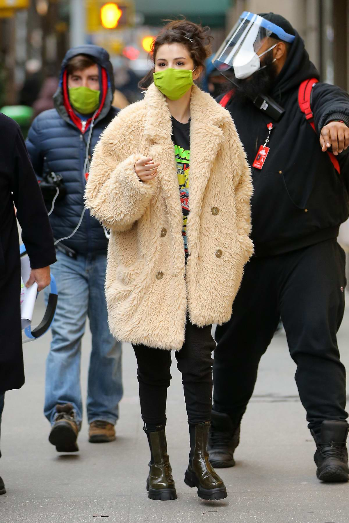 Selena Gomez stays warm in a teddy coat while filming 'Only Murders In The Building' in New York
