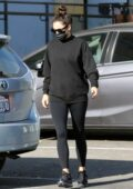 Shay Mitchell dons all black while running errands around downtown Los Angeles