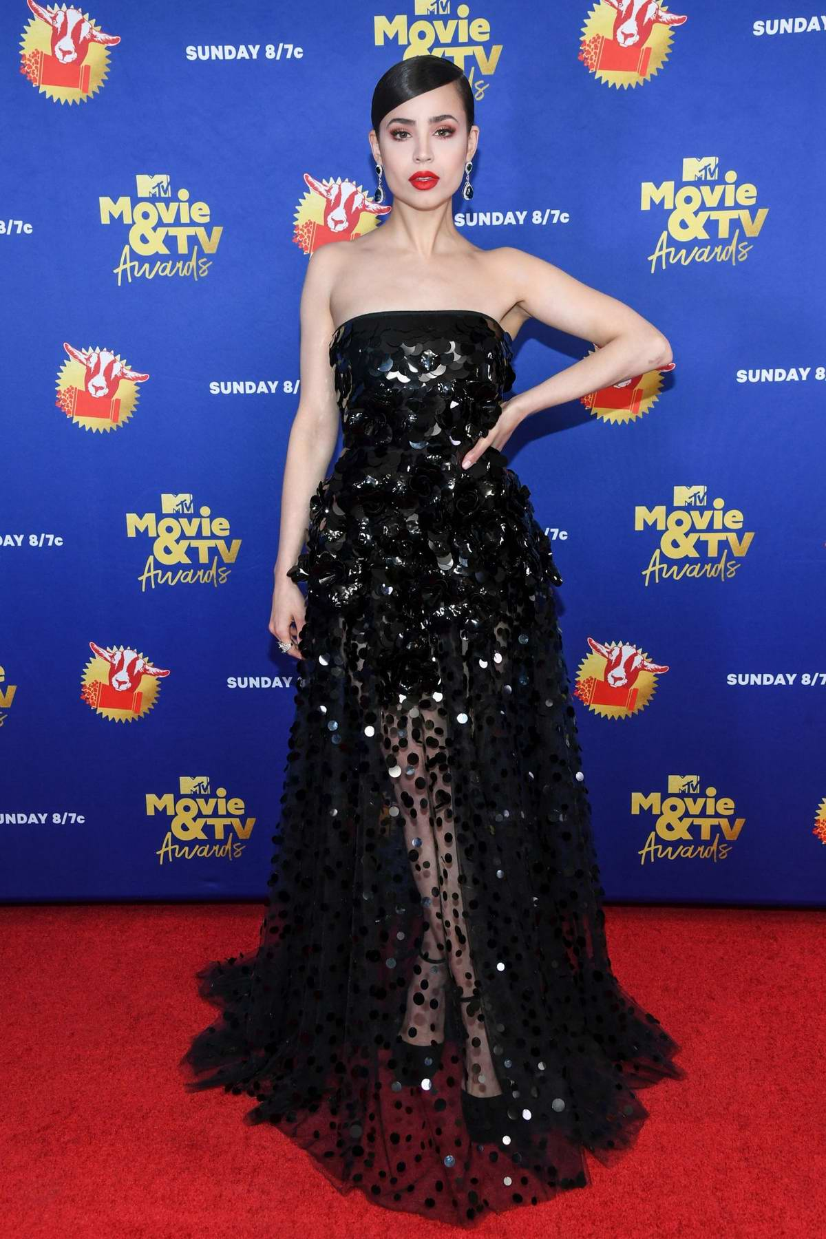 Sofia Carson attends the 2020 MTV Movie & TV Awards in Los Angeles