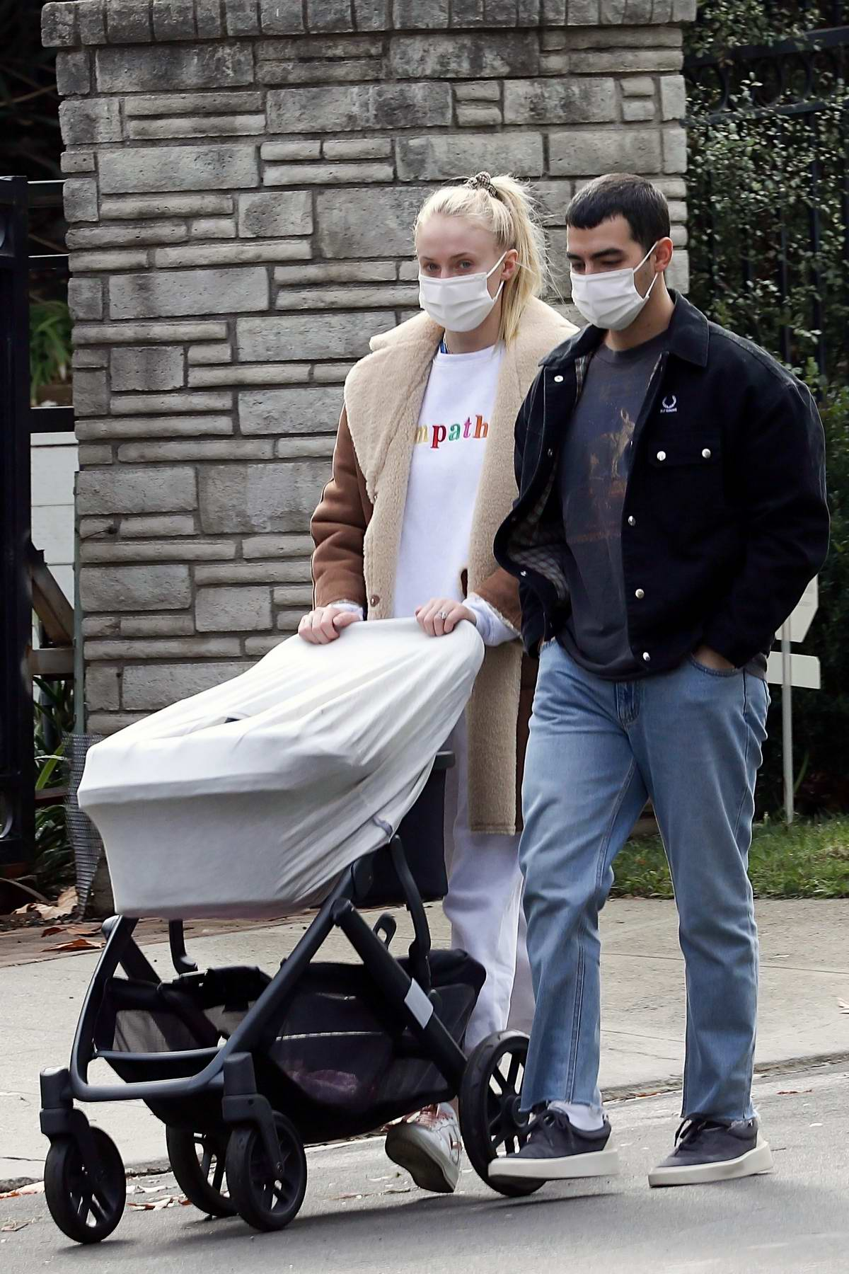 Sophie Turner and Joe Jonas seen out enjoying their daily morning walk with their daughter in Los Angeles