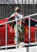 Vanessa Hudgens sports colorful tie-dye sweats as she heads to a photoshoot in Los Angeles