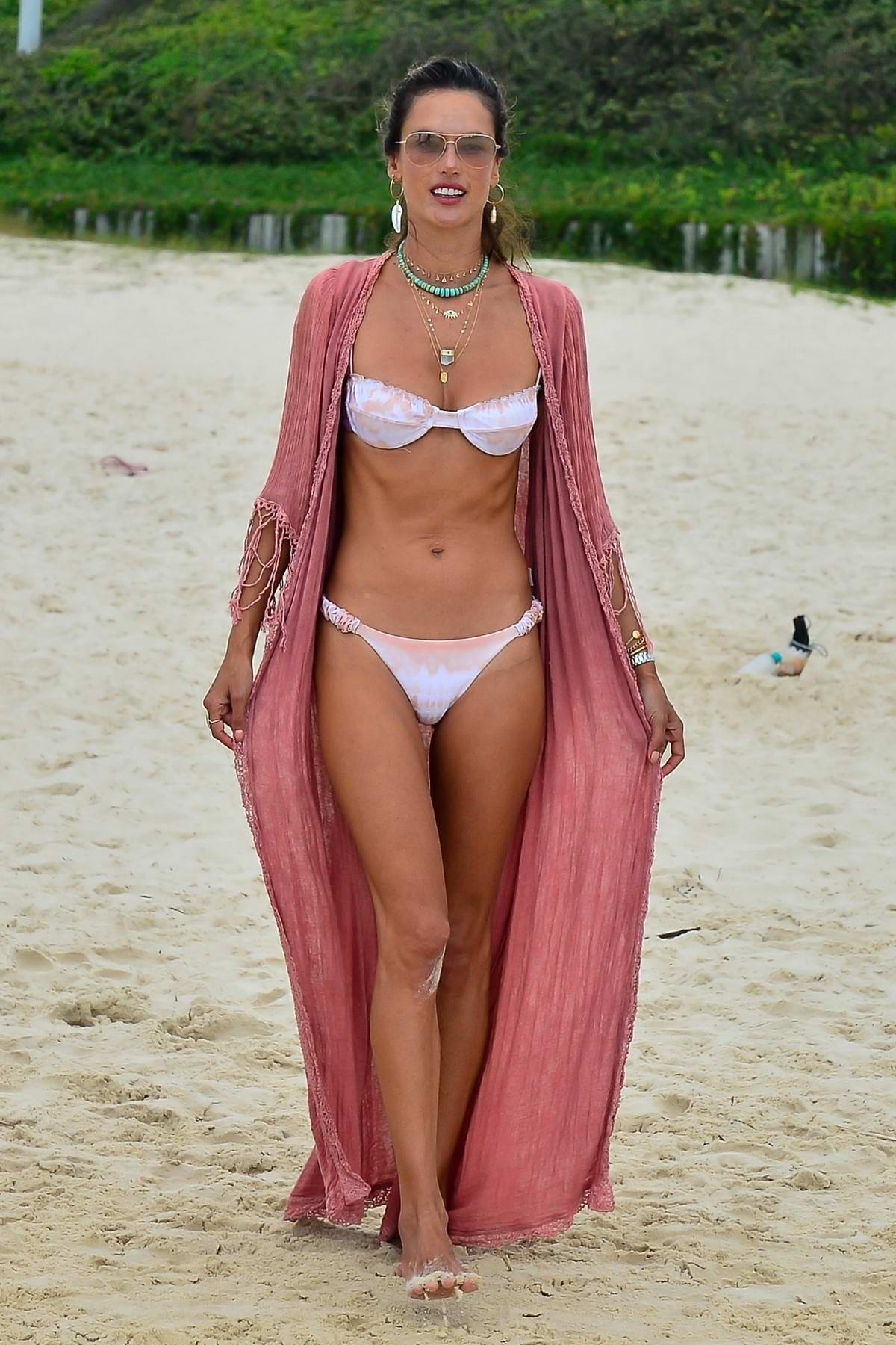 Alessandra Ambrosio looks gorgeous in tie-dye bikini while enjoying another beach day with friends in Florianopolis, Brazil