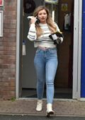 Amy Hart looks great in skinny jeans as she makes a stop to refuel her Range Rover at a local gas station in Worthing, UK