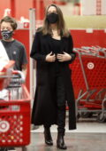 Angelina Jolie looks chic in an all-black ensemble while out shopping with her son at Target in Los Angeles