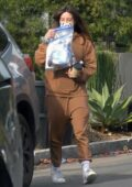 Aubrey Plaza keeps it cozy in a sweatsuit while making a coffee run in Los Angeles