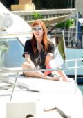 Bella Thorne seen relaxing on a luxury yacht with Benjamin Mascolo as she continued her vacation in Tulum, Mexico